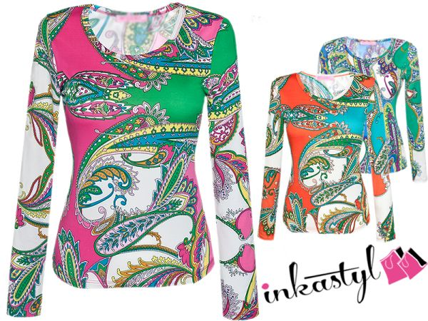 COLORFUL BLOUSE, NEON PRINT TOP TRENDY MIX