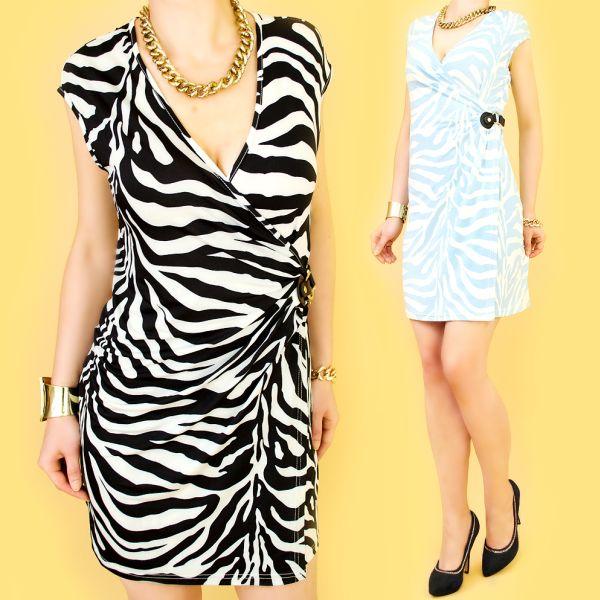 ENVELOPE Kleid,<br> mit Schnalle,<br>Zebramuster