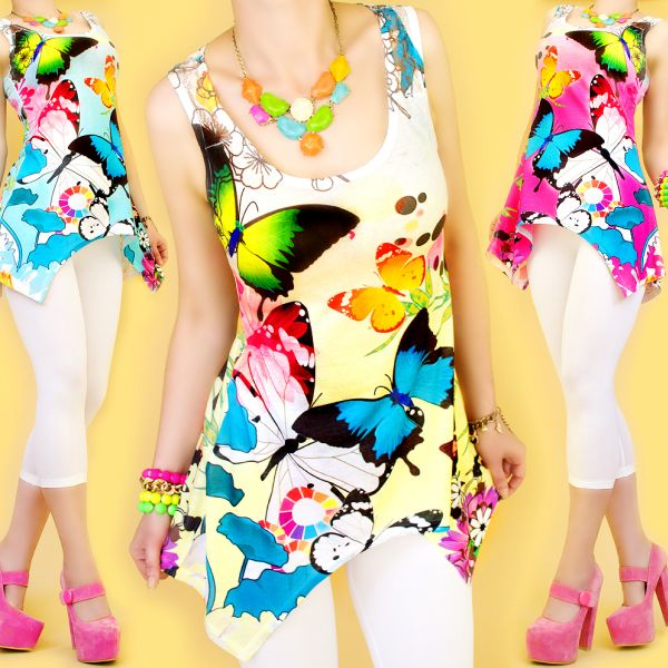 Tunic, BEAUTIFUL<br> PRINT: TROPICAL<br>BUTTERFLY