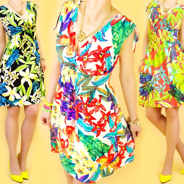 TROPICAL DRESS,<br>FLOWERS, V-neckline