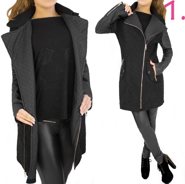LADIES COAT, WOOL,<br> INSERTS WITH<br>ekoskóry