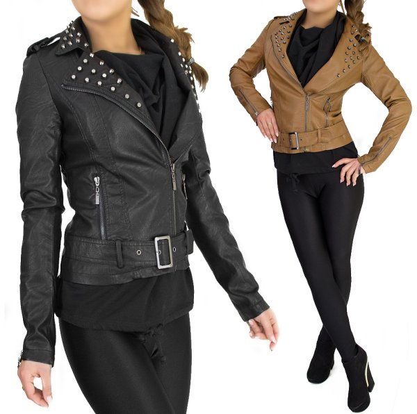 WOMEN JACKET, PU<br>LEATHER, jets