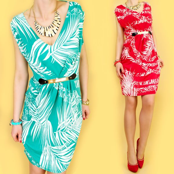 Tulips DRESS,<br> TROPICAL PATTERN,<br>GOLDEN STRIPE