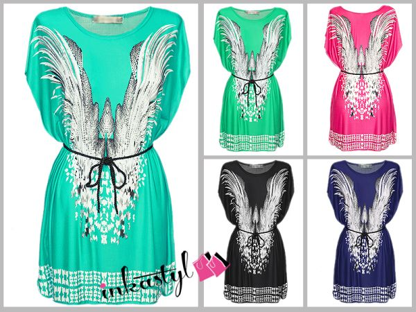 LOOSE TUNIC With STRIP PRINT with wings, MIX