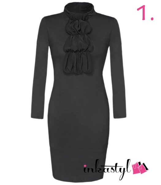 ELEGANT, CLASSIC,<br>DRESS with ruffle _1