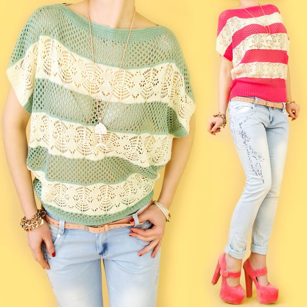 ROMANTIC SWEATER,<br> openwork BLOUSE,<br>TRIPES