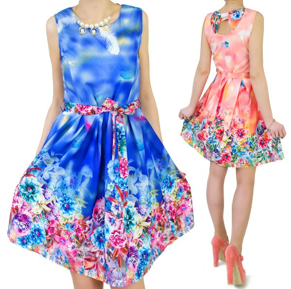 Flared DRESS,<br> distinct pattern<br>-  FLOWERS, bow