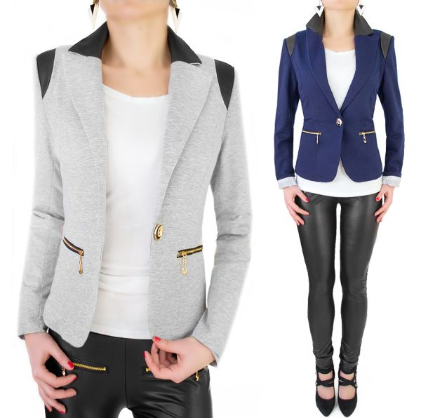 LADIES JACKET,<br> INSERTS WITH PU<br>LEATHER, SLIDERS