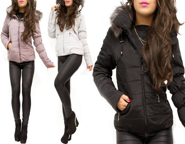 WARM JACKET,<br> quilted INSERTS,<br>FUR MIX