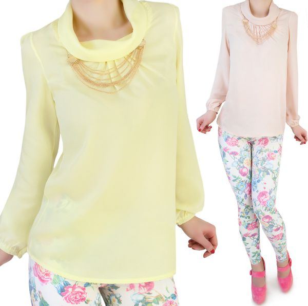 Chiffon Blouse +<br>GOLD NECKLACE
