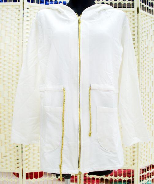 B18121, laza<br> kabát, kabát<br>kapucnival, krém