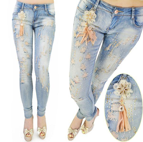 Hosen, Jeans, mit<br>Anhänger, Loch, Jets