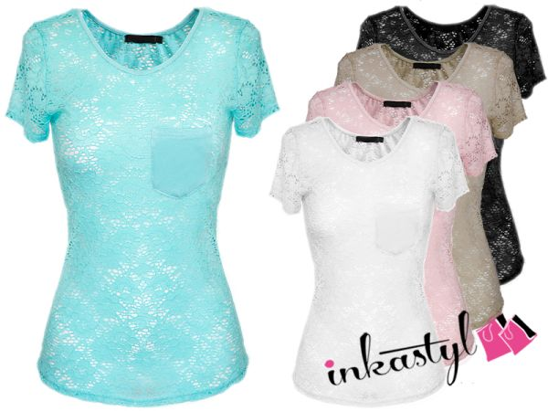 CUTE LACE BLOUSE pocket, MIX