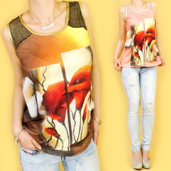 TOP, BLOUSE WITH<br> mesh, Imprint 3D<br>EFFECT