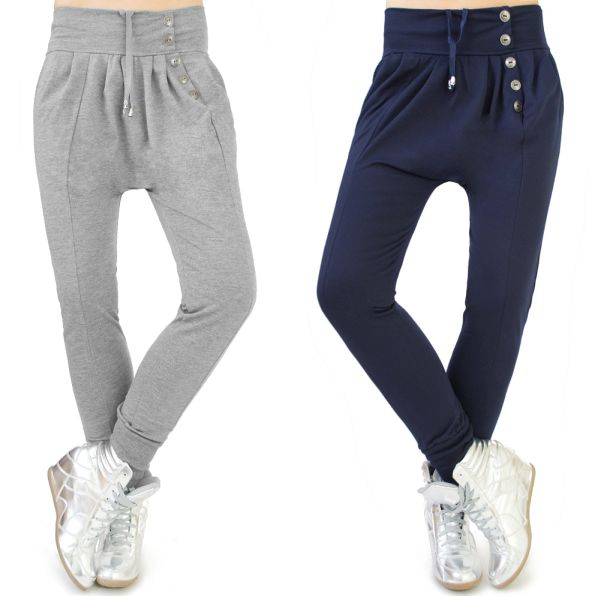 LADIES PANTS,<br> BAGGY, SILVER<br>BUTTONS, COTTON