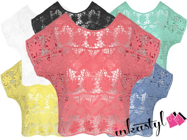 CHIC SHORT LACE BLÚZ, TOP MIX