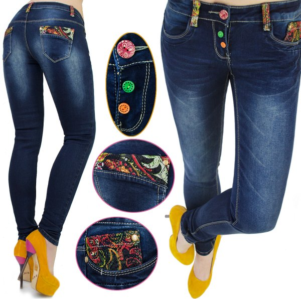 JEANS, PANTS,<br> COLORED INSERTS<br>AND BUTTONS
