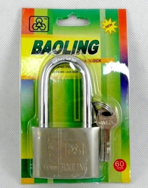 Chrome padlock<br>60mm long ear
