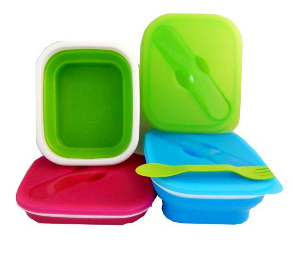 Faltbare Silikon<br>Lunchbox mit Besteck