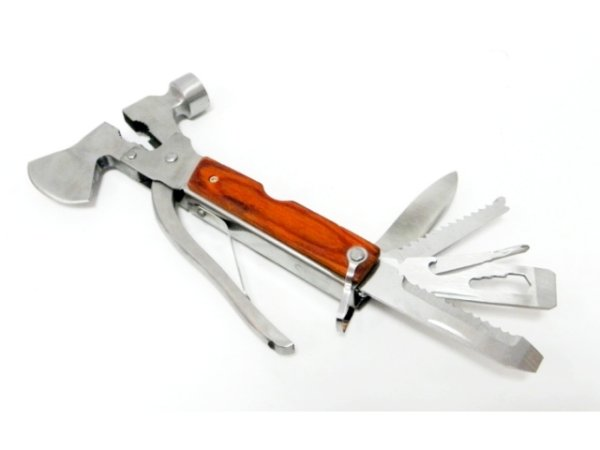 Multitool, pocket<br> knife, hammer,<br>pliers, ax
