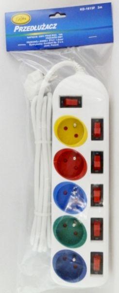 Verlängerung 5<br> Buchsen mit Pin<br>und der Schalter 3.