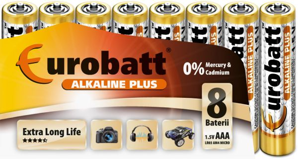 Plus Alkaline<br> Batteries AAA 8<br>pack R3.