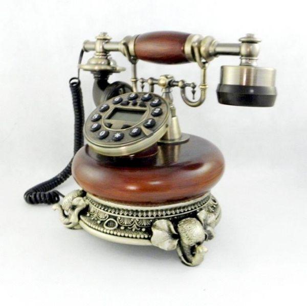 Landline phone<br> with display<br>antique wood