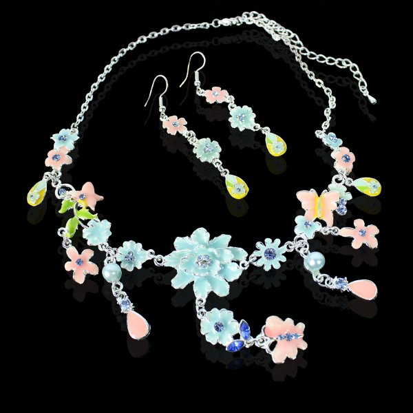 2-piece Colorful<br> fashion jewelry<br>set with flowers