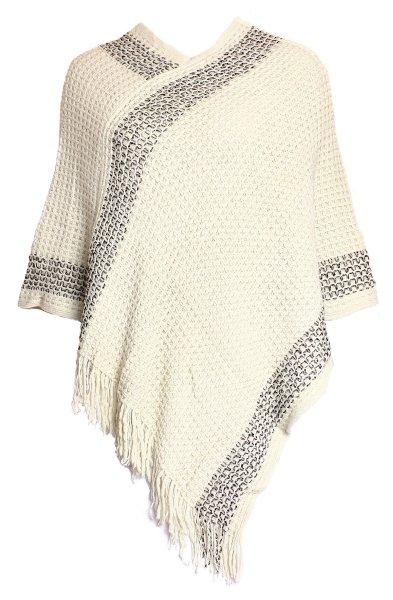 Ladies Knit Poncho<br> Ladies Pullo JY-1<br>Cream