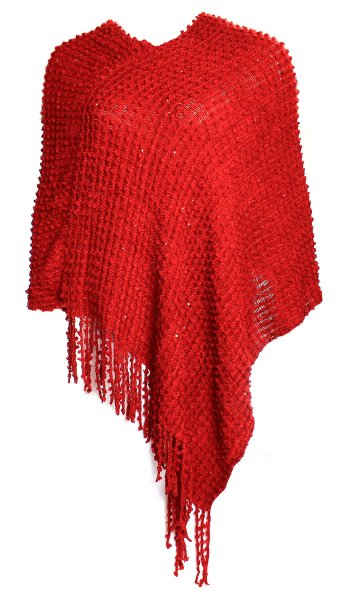 Ladies Knit Poncho<br>JY-2 red
