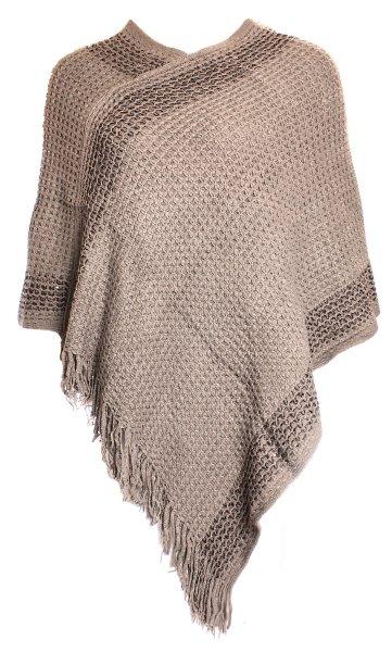 Dames Knit Poncho<br>JY-1 Koffie