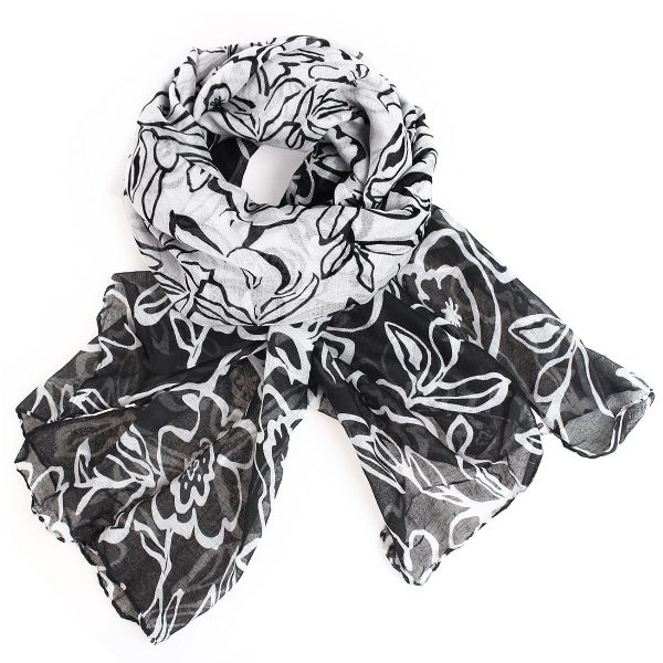 Ladies scarf shawl<br> SCARF 9D0154<br>9D0154 White