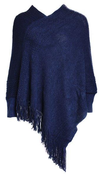 Női Kötött poncsó<br>Női Pullo JY-3 Kék