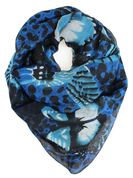 Damen Schal Tuch<br> Langschal 9D0175<br>Blau