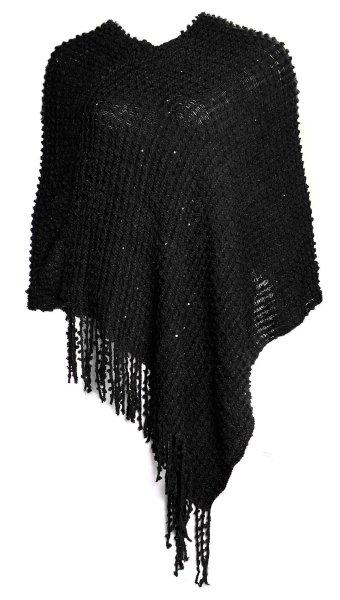 Dames Knit Poncho<br>JY-2 Black