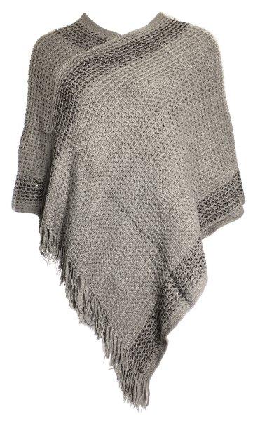 Dames Knit Poncho<br> Ladies Pullo JY-1<br>grijs