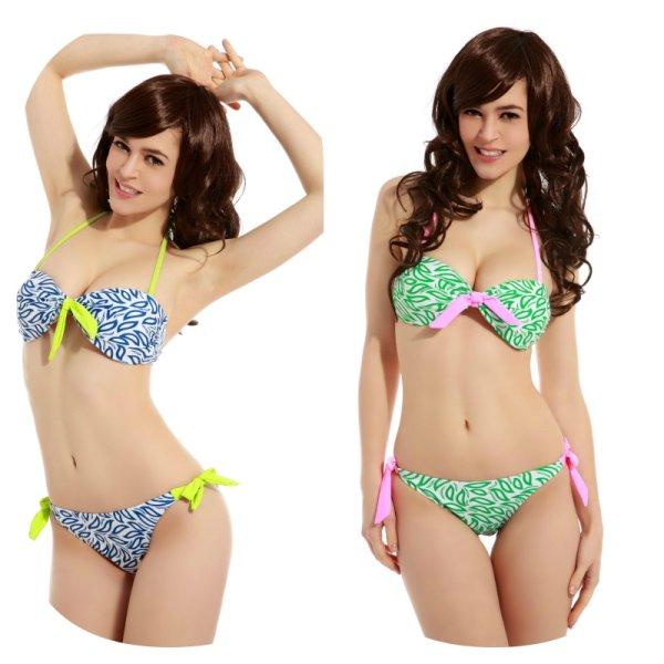 French halterneck<br> bikini with neon<br>strip