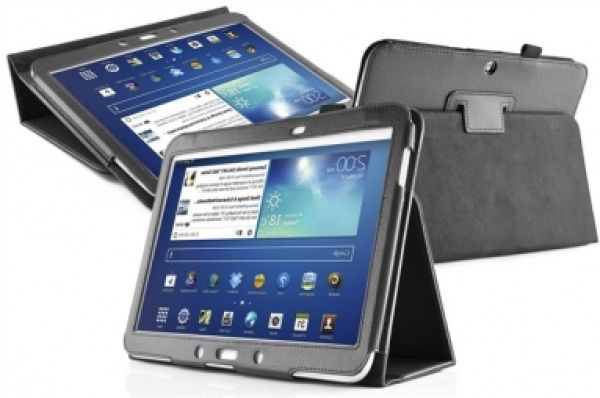 3 Samsung Galaxy<br> Tab 10.1 Leather<br>Flip Case Black