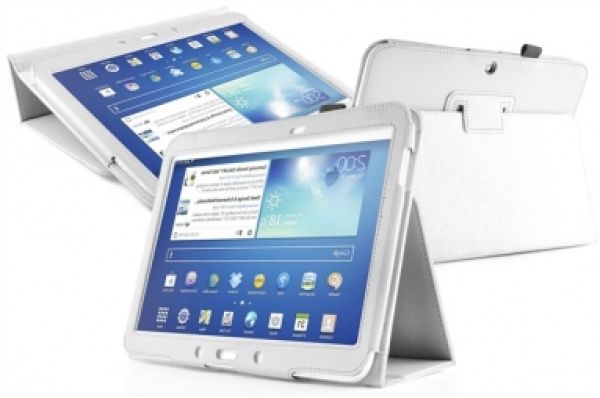 3 Samsung Galaxy<br> Tab 10.1 Leather<br>Flip Case White