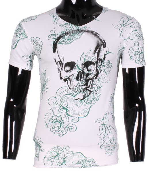 MEN V NECK TSHIRT<br> SKULL TONY MORO<br>D1765