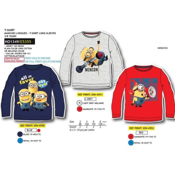 WHOLESALE TSHIRT<br> Minions 3/8 YEARS<br>WINTER 2016