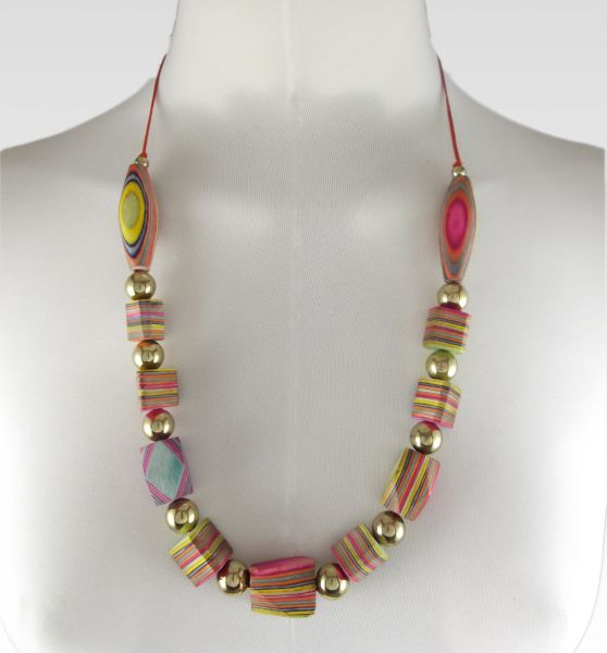 Ecological<br> Multicolor Pendant<br>- Necklace Wood Natu