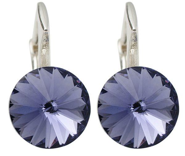 silver earrings<br> with swarovski<br>Rivoli Tanzanite