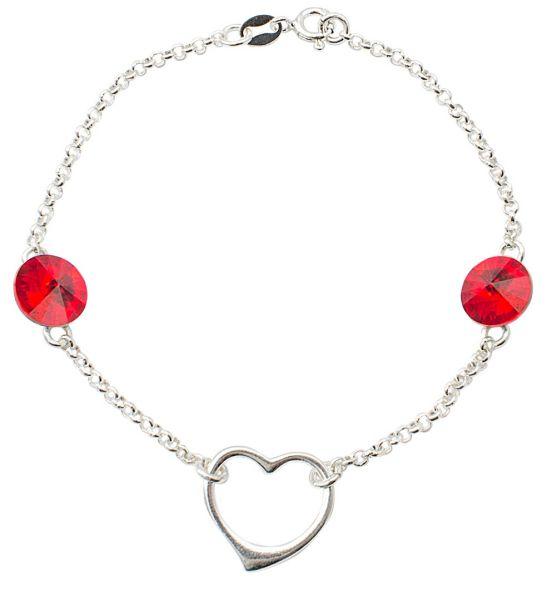 Bracciale in<br> argento cuore con<br>swarovski rivoli