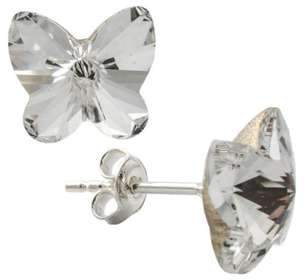 silver earrings<br> with swarovski<br>Butterfly C. Clear