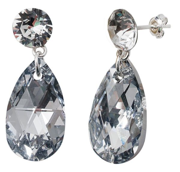 silver earrings<br> with swarovski<br>Xirius Pear CAL