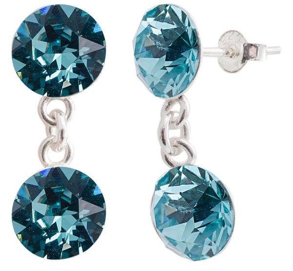 silver earrings<br> with swarovski d.<br>Xirius Turquoise