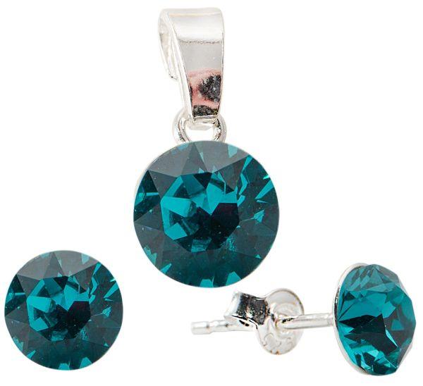silver Set with<br> swarovski Xirius<br>Blue Zircon