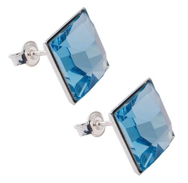 silver earrings<br> with swarovski<br>Squares Aquamarine