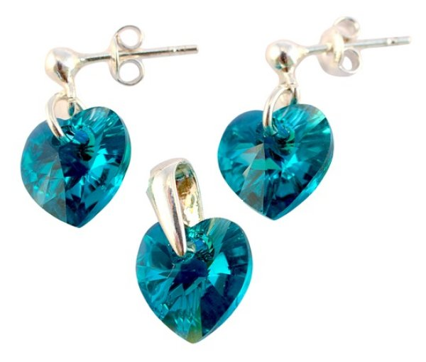 silver Set with<br> swarovski Heart<br>Blue Zircon AB